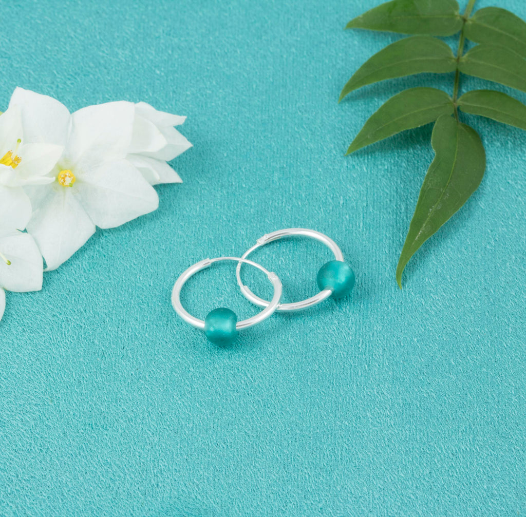 Teal Glass Bead Hoop Earrings - Milly & Co.