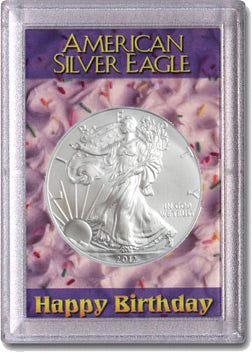 HE Harris Frosty Case for Silver Eagles: Happy Birthday