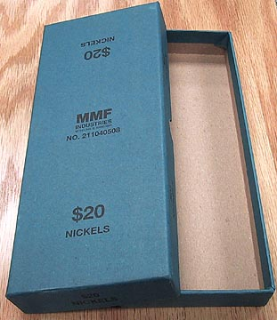 Blue Box for bank rolled Nickels