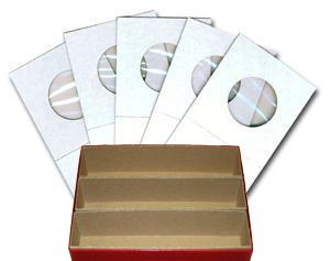 "1.5x1.5 Cardboard Coin Holders for Small Dollars, 26.5mm or 1.043"" with Triple Row Red Storage Box"