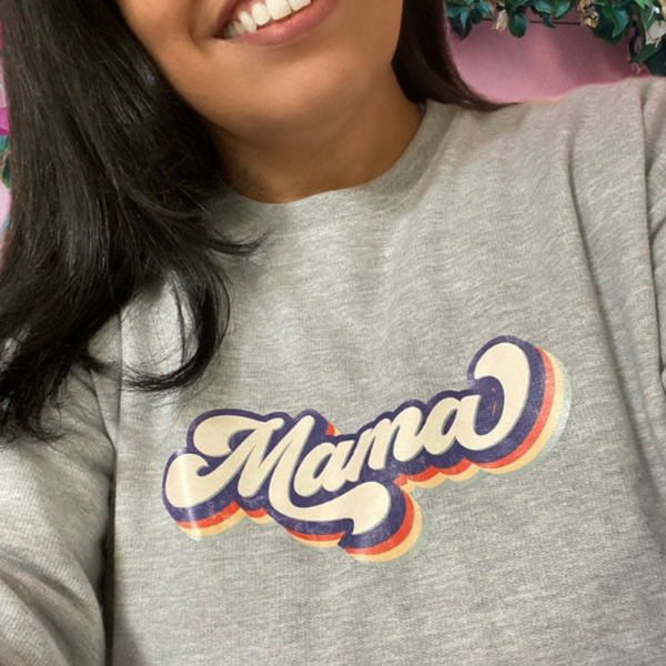 mama gray sweatshirt worn by a female