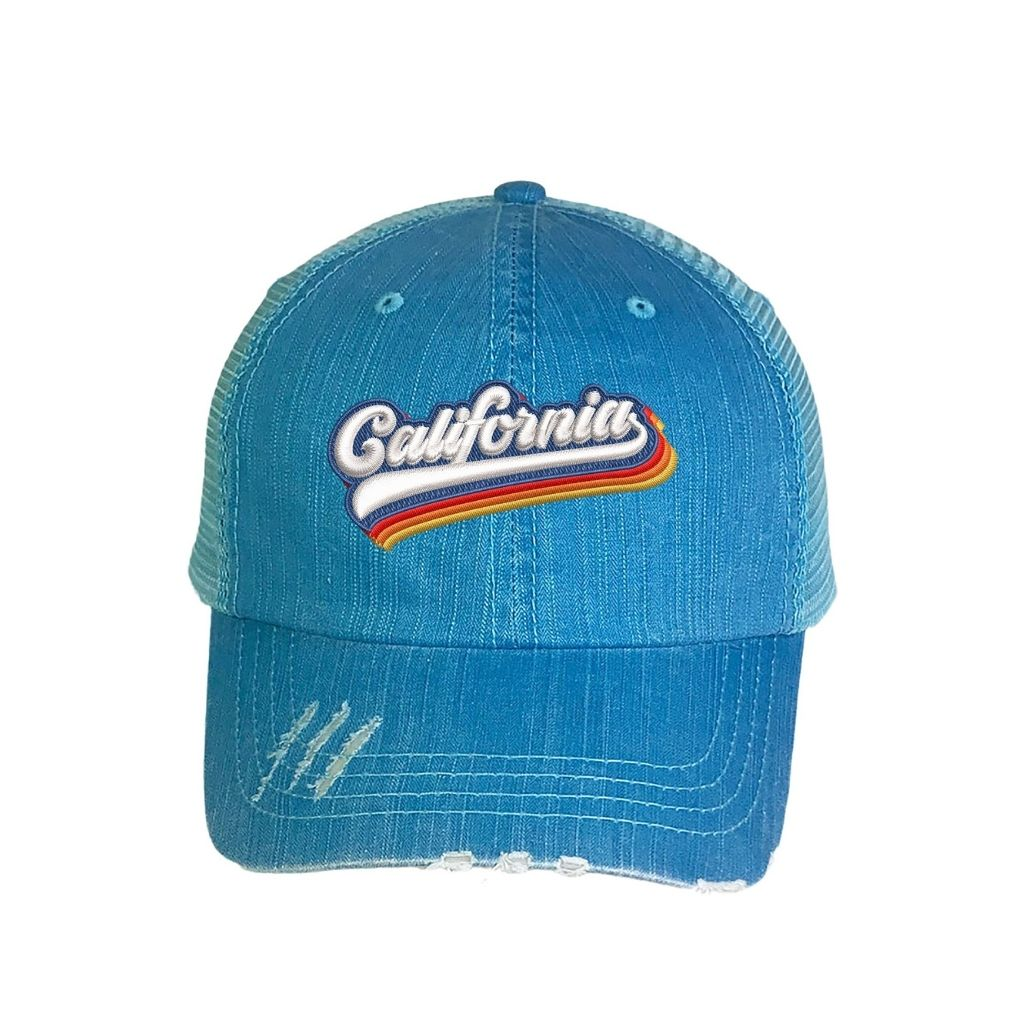 Washed Aqua distressed trucker hat with california embroidered in the front - DSY Lifestyle