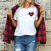 Unisex Red Plaid Love Heart T-Shirt , White T-Shirt, Love Heart, Heart, Printed Shirt, Scoop Neck Shirt, Crewneck, Valentines Day Shirt, DSY Lifestyle Shirt, Made in LA