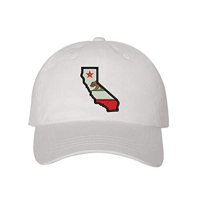 California Map Baseball Hat, Unisex Dad Hat, Embroidered Dad Hat, 3D Puff Dad Hat, California Map Hat, Custom Embroidery, DSY Lifestyle Dad Hat, White Dad Hat, Made in LA