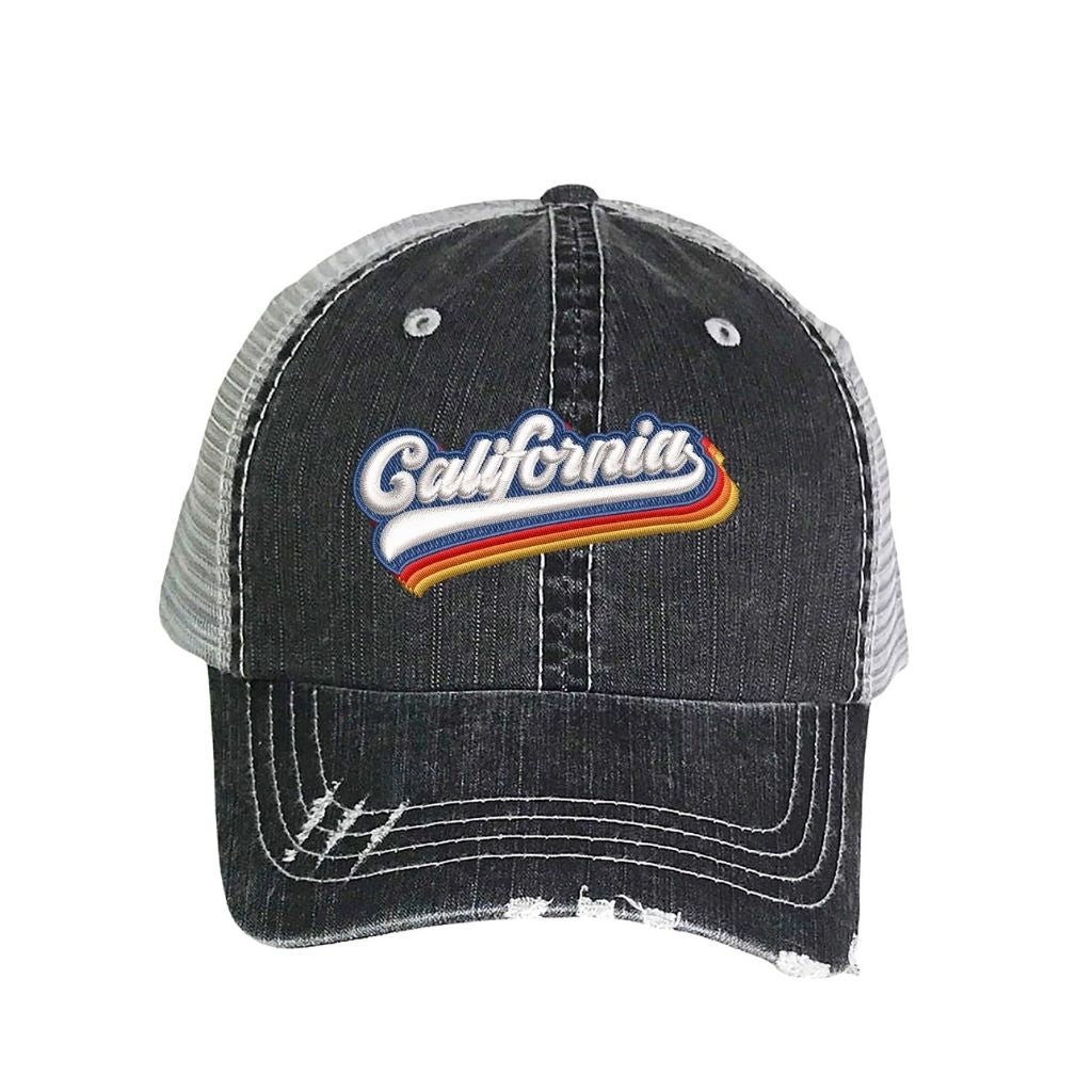 Washed Black distressed trucker hat with california embroidered in the front - DSY Lifestyle