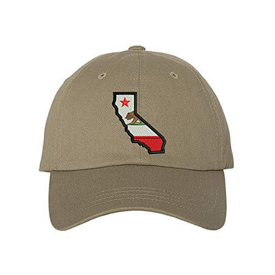 California Map Baseball Hat, Unisex Dad Hat, Embroidered Dad Hat, 3D Puff Dad Hat, California Map Hat, Custom Embroidery, DSY Lifestyle Dad Hat, Khaki Dad Hat, Made in LA