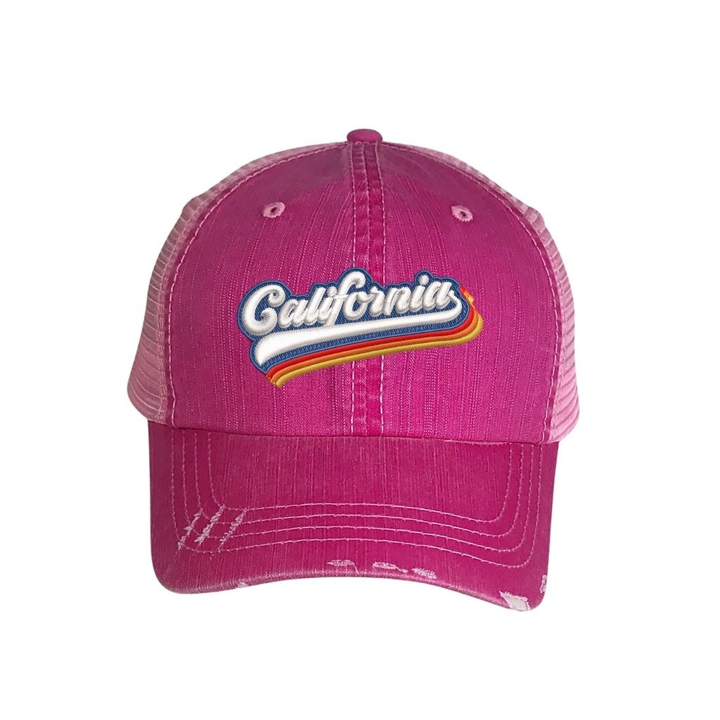 Washed Pink distressed trucker hat with california embroidered in the front - DSY Lifestyle