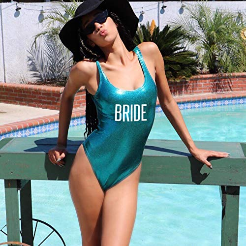 BRIDE One piece BacBRIDE Glossy White One piece Swimsuit , Holographic Bathing Suit, Printed Bathing Suit, Gold Printing, Bride Swimsuit, DSY Lifestyle Swimwear, Turquoise Swimsuit, Made in LAhelorette Party Turquoise Swimsuit - Prfcto Lifestyle
