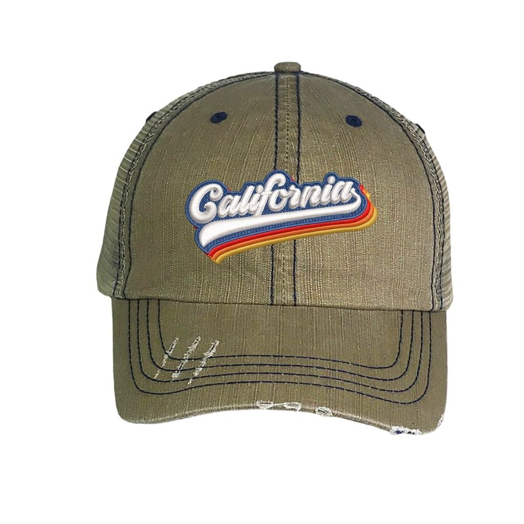 Washed Khaki distressed trucker hat with california embroidered in the front - DSY Lifestyle