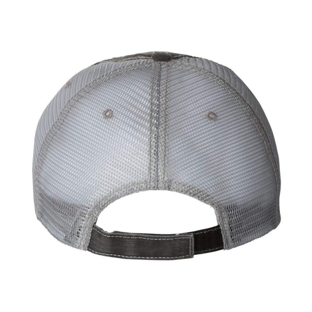 Back view of trucker hat showing velcro back strap