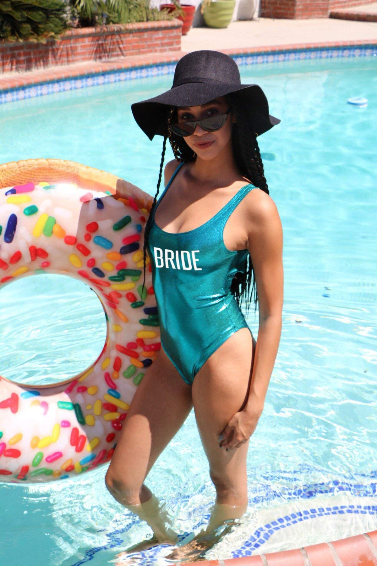 BRIDE Glossy White One piece Swimsuit , Holographic Bathing Suit, Printed Bathing Suit, Gold Printing, Bride Swimsuit, DSY Lifestyle Swimwear, Turquoise Swimsuit, Made in LA
