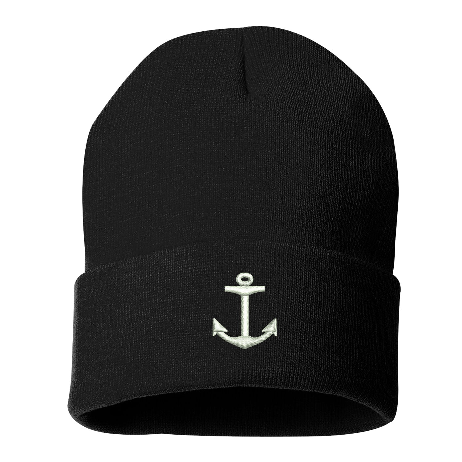 Anchor Cuffed Beanie, Cuffed Beanie Cap, Anchor Embroidery, Embroidered Beanie Cap, Custom Embroidery, Navy Cuffed Beanie, DSY Lifestyle Beanie, Made in LA