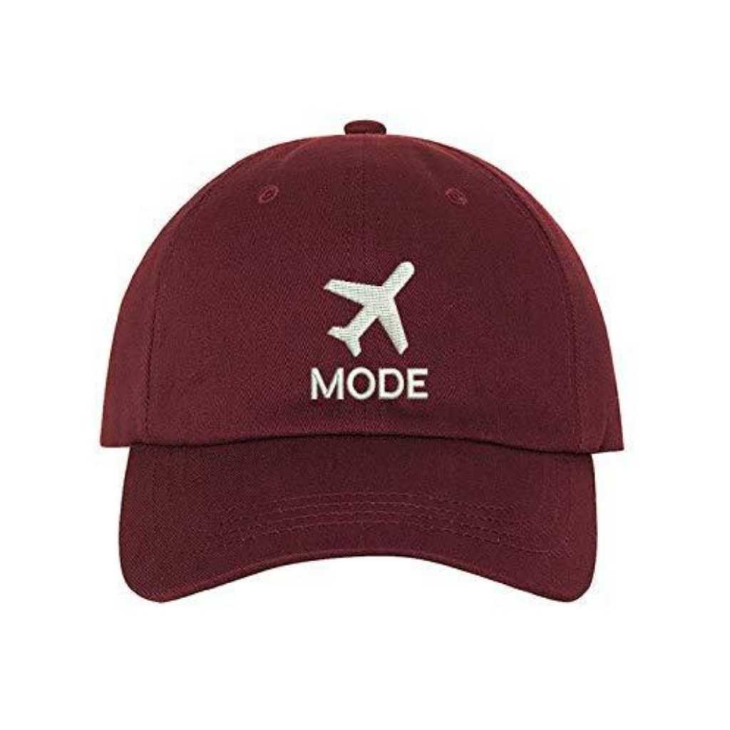 Burgundy Baseball hat embroidered with Airplane mode in the front in white - DSY Lifestyle