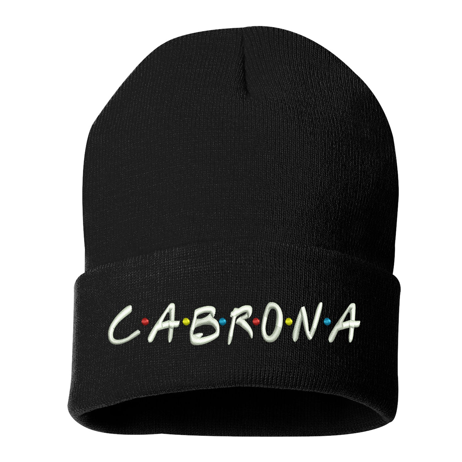 Cabrona Friends Font Cuffed Beanie, Cuffed Beanie Cap, Cabrona Embroidery, Embroidered Beanie Cap, Friends Font, Custom Embroidery, DSY Lifestyle Beanie, Red Cuffed Beanie, Made in LA