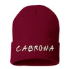 Cabrona Friends Font Cuffed Beanie, Cuffed Beanie Cap, Cabrona Embroidery, Embroidered Beanie Cap, Friends Font, Custom Embroidery, DSY Lifestyle Beanie, Burgundy Cuffed Beanie, Made in LA