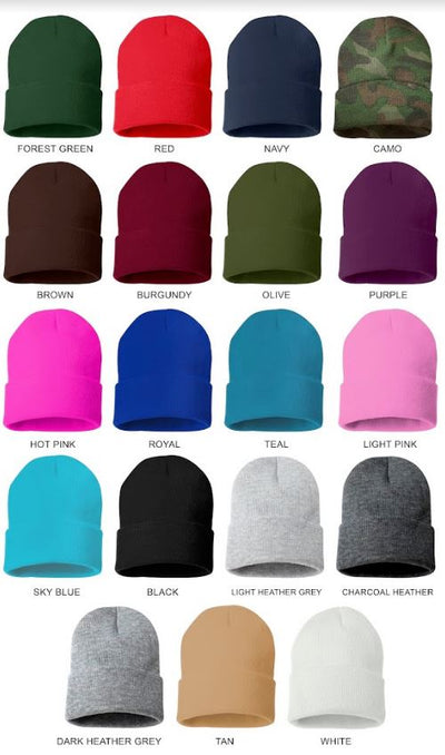 Cabrona Cuffed Beanie Color Chart, Forest Green, Red, Navy, Camo, Brown, Burgundy, Olive, Purple, Hot Pink, Royal, Teal, Light Pink, Sky Blue, Black, Light Heather Grey, Charcoal Heather, Dark Heather Grey, Tan, White