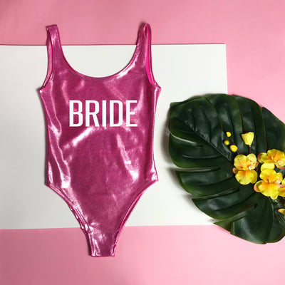 Bride & Team Bride One-Piece Swimsuit, Holographic Bathing Suit, Printed Bathing Suit, Gold Printing, Bride Swimsuit, Team Bride Swimsuit, DSY Lifestyle Swimwear, Pink Swimsuit, Made in LA