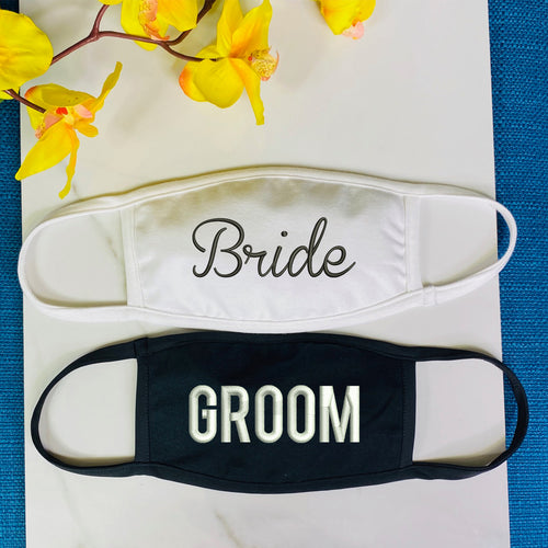 Bride and Groom Face Mask - with filter opening Unisex Protective Masks
