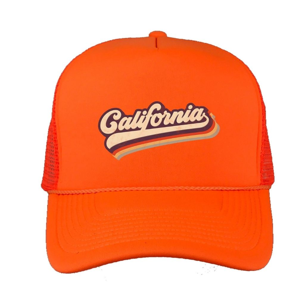 Orange foam trucker hat with California printed in the front - DSY Lifestyle