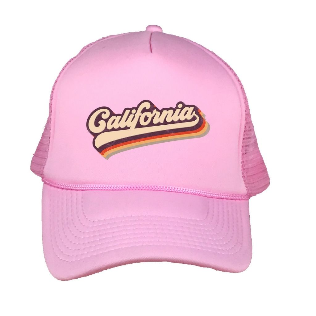 Pink foam trucker hat with California printed in the front - DSY Lifestyle