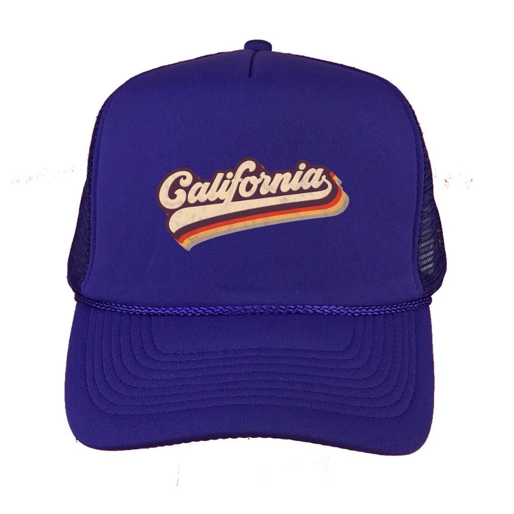 Royal Blue foam trucker hat with California printed in the front - DSY Lifestyle
