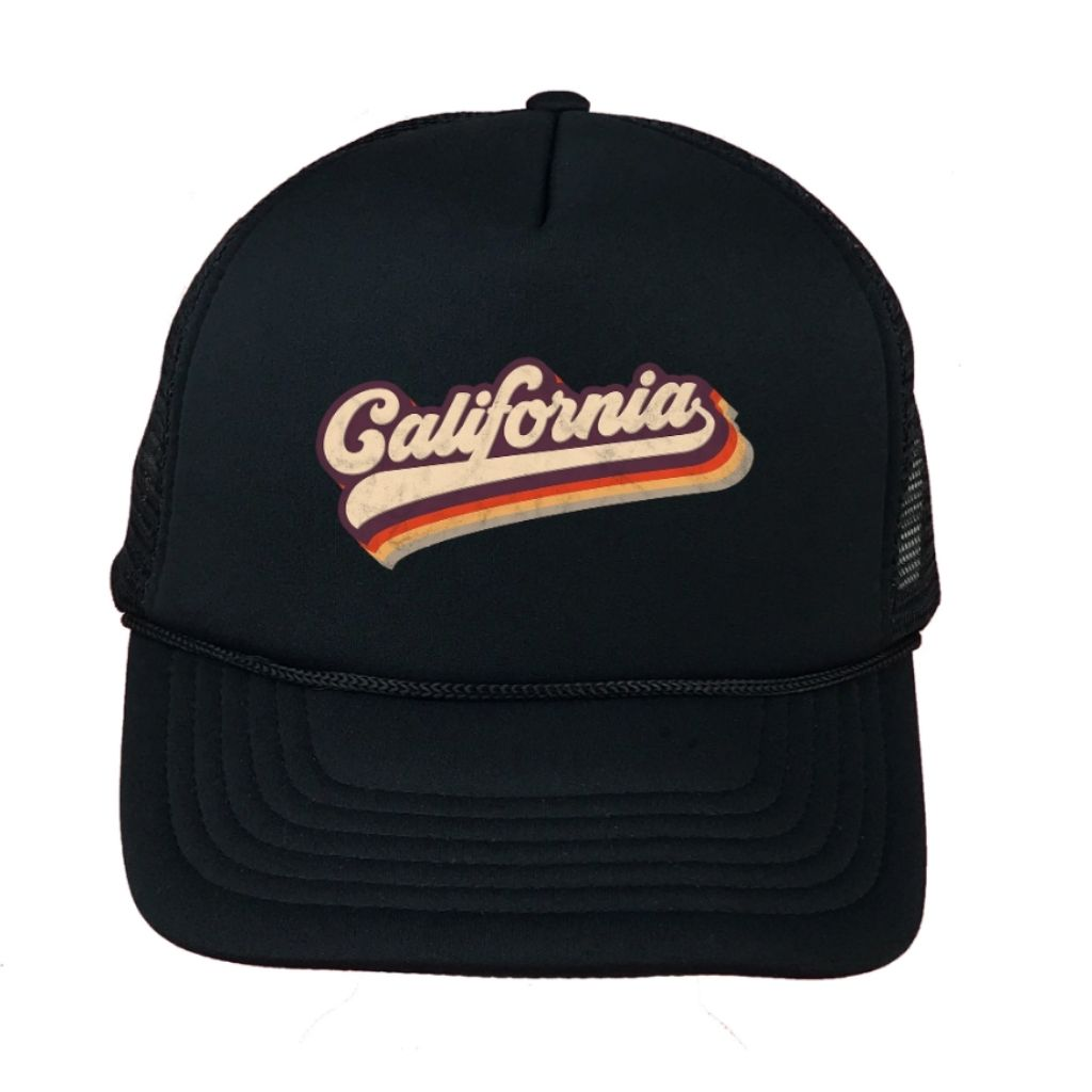 Black foam trucker hat with California printed in the front - DSY Lifestyle