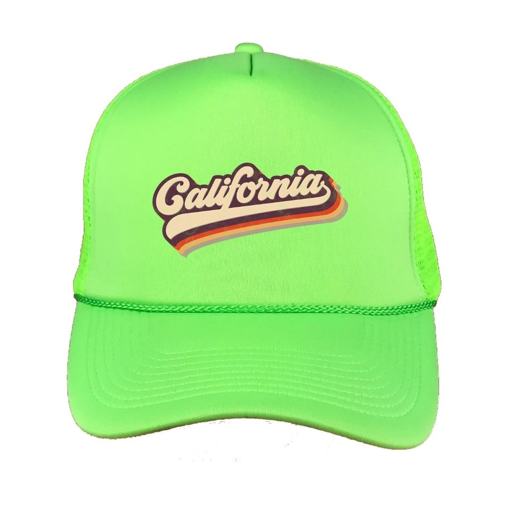 Neon Green foam trucker hat with California printed in the front - DSY Lifestyle