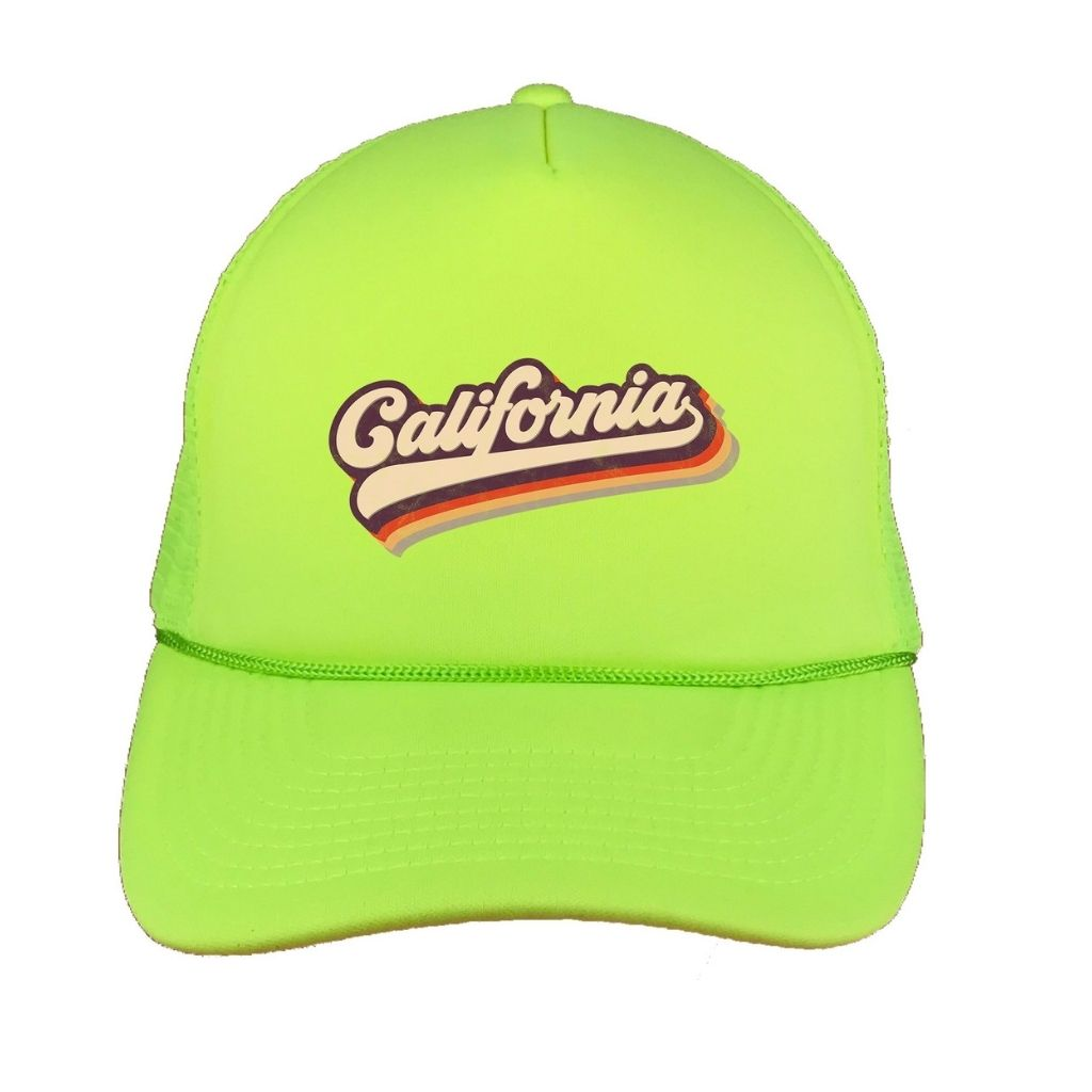 Neon Yellow foam trucker hat with California printed in the front - DSY Lifestyle