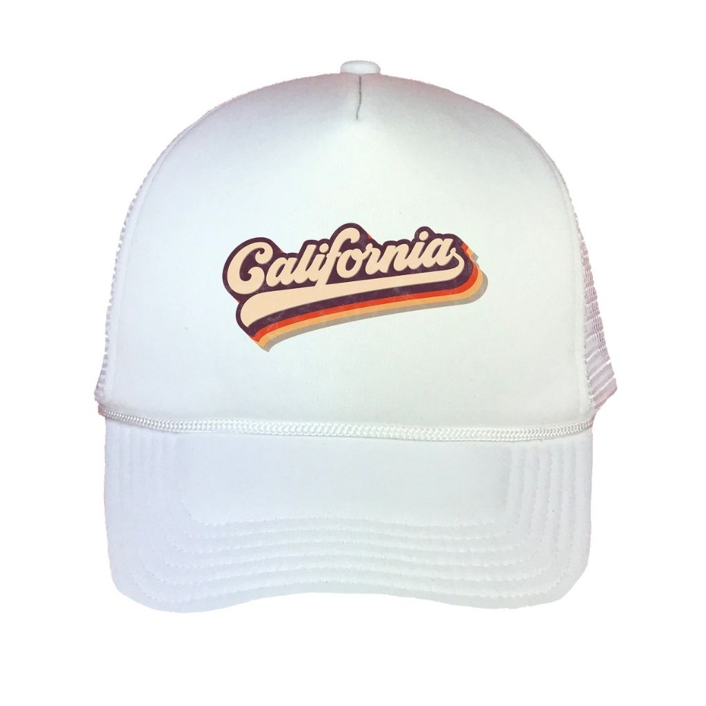 White foam trucker hat with California printed in the front - DSY Lifestyle