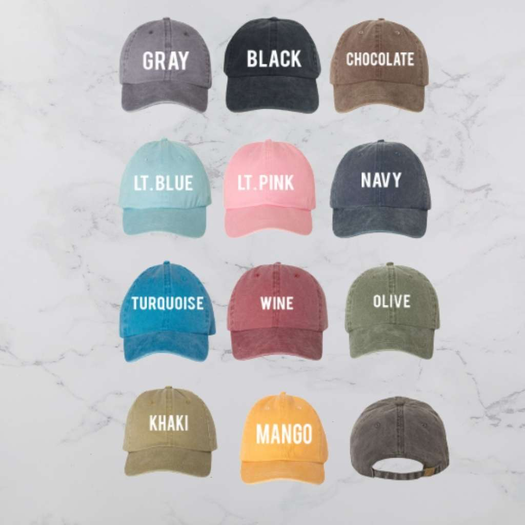 Washed Baseball hat color chart available in gray black chocolate light blue light pink navy turquoise wine olive khaki and mango - DSY Lifestyle