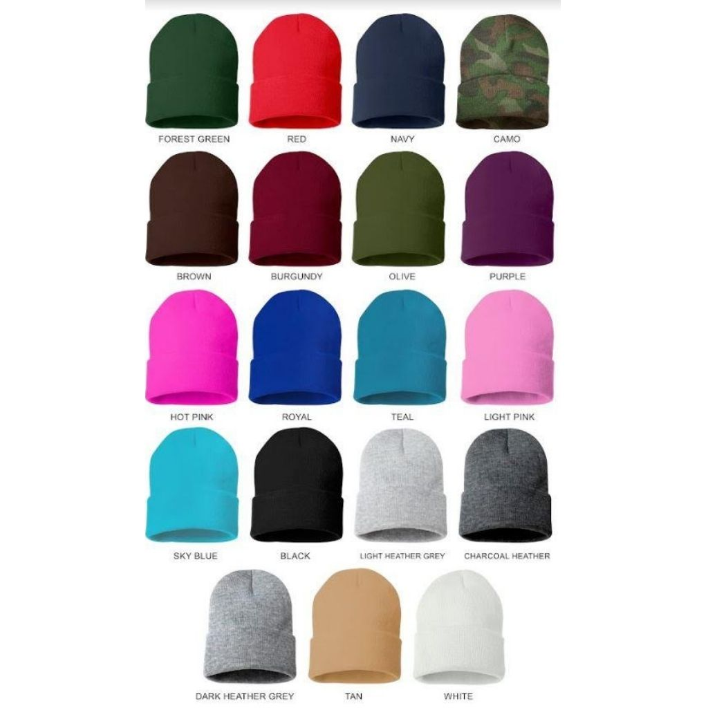 Beanie color chart available in forest green red navy camo brown burgundy olive purple hot pink royal blue teal light pink sky blue black light heather gray charchoal heather dark heather tan and white - DSY Lifestyle