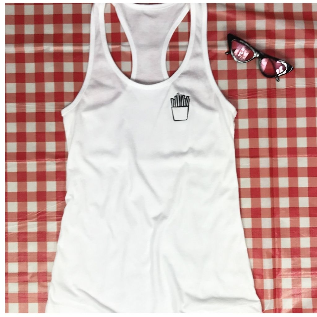 White tank top with french fries embroidered on the left chest - DSY Lifestyle