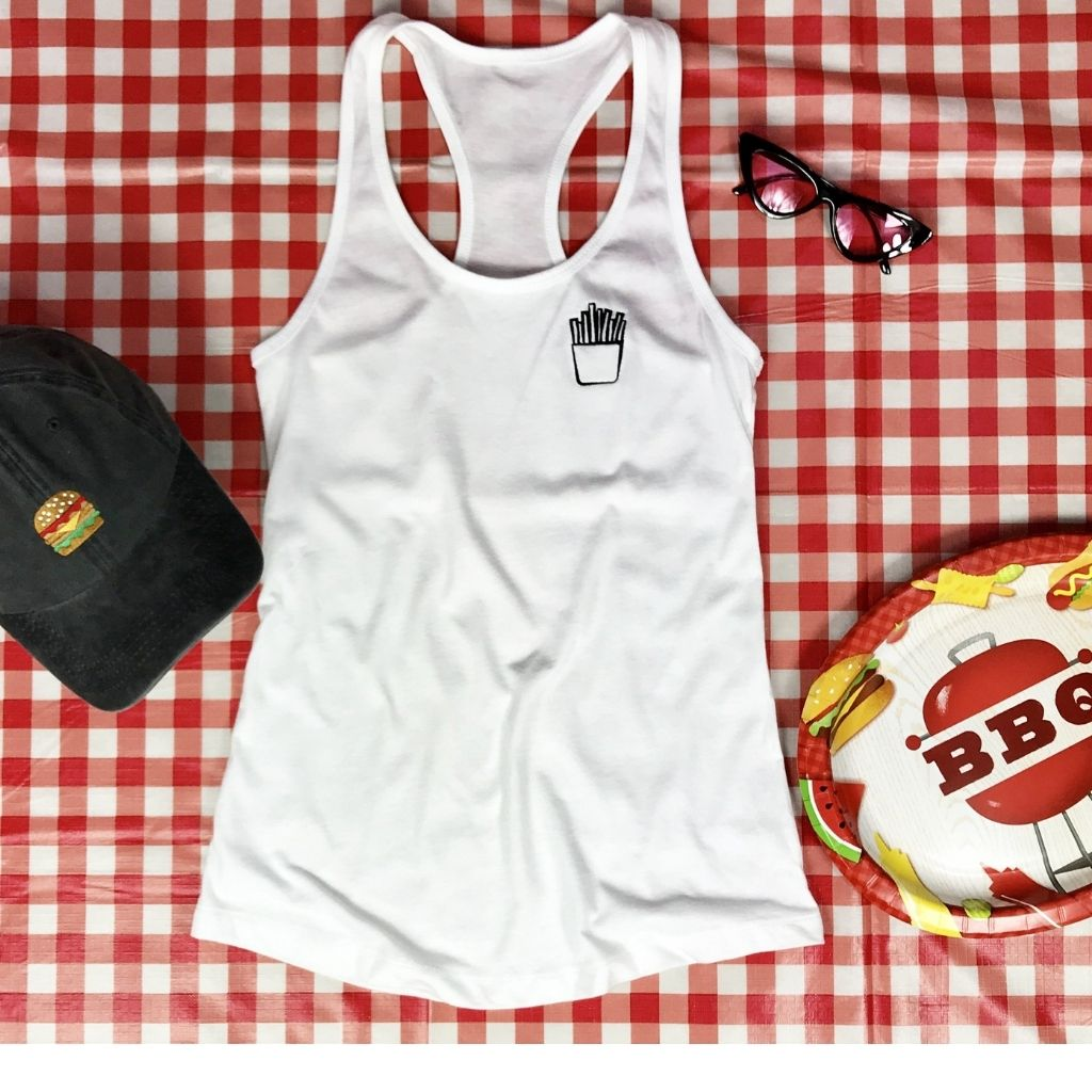 flat lay with a Black washed hamburger hat and white tank top with french fries embroidered on the left chest - DSY Lifestyle