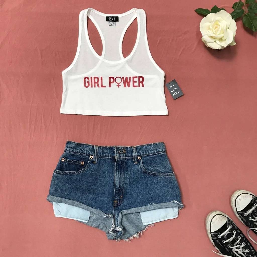 White tank top with Girl power printed in red in the front - DSY Lifestyle