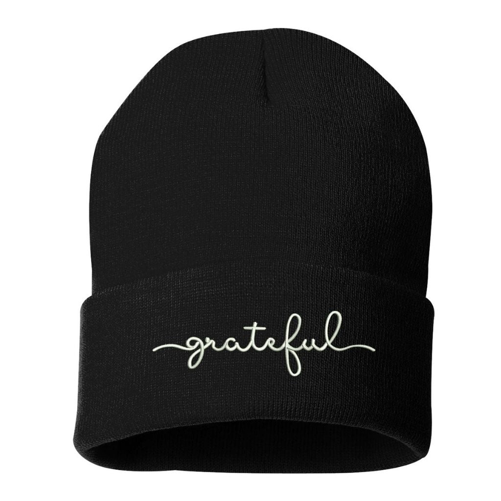 Burgundy beanie embroidered with grateful in white thread - DSY Lifestyle