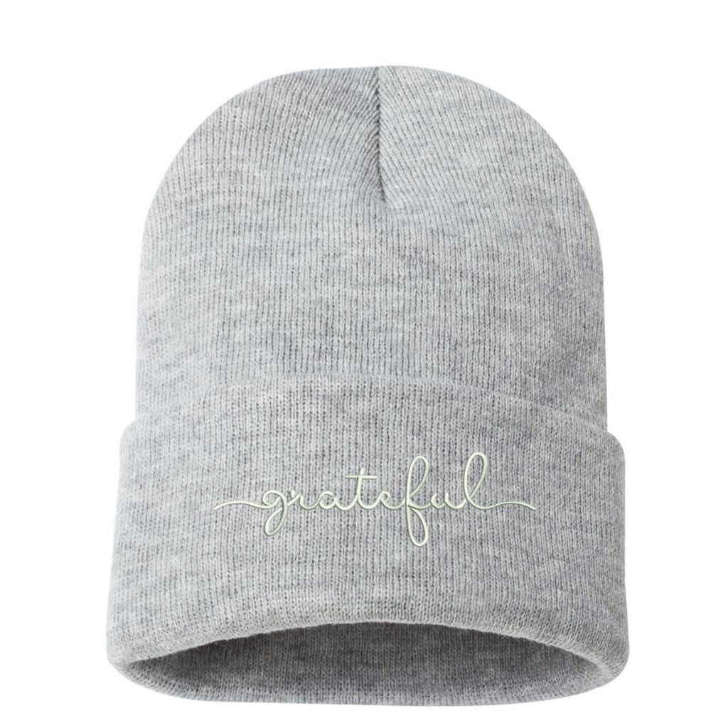 Heather gray beanie embroidered with grateful in white thread - DSY Lifestyle
