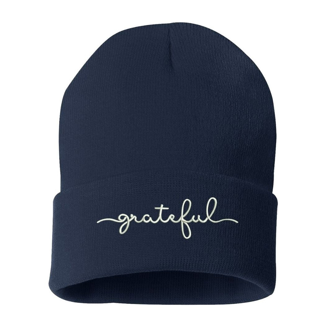 Navy beanie embroidered with grateful in white thread - DSY Lifestyle