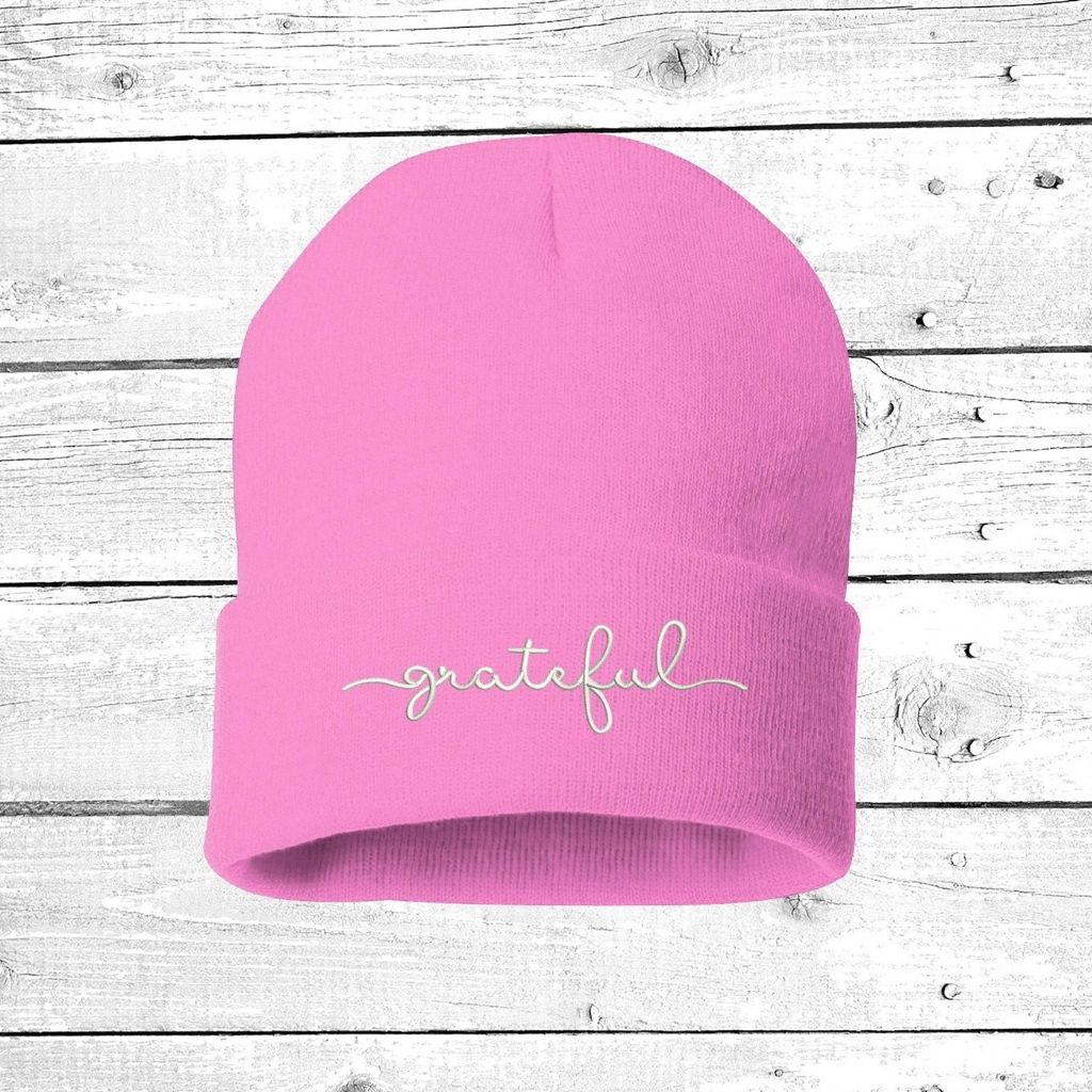 Pink beanie embroidered with grateful in white thread - DSY Lifestyle