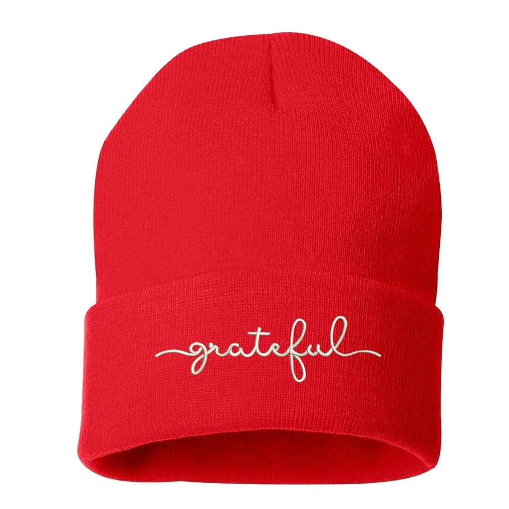 Red beanie embroidered with grateful in white thread - DSY Lifestyle