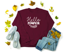 Load image into Gallery viewer, Hello Pumpkin Sweatshirt - Fall Crewneck Sweatshirt