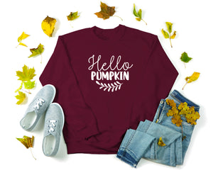 Hello Pumpkin Sweatshirt - Fall Crewneck Sweatshirt