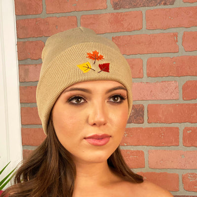 Fall Leaves Cuffed Beanie Hat