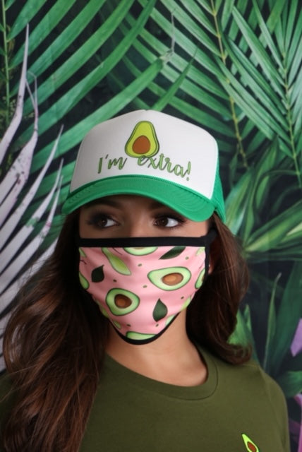 Unisex Avocado Printed Face Mask, Face Coverings, Adult Face Mask, Protective Mask, Face Cover, New Facemask, Cloth Face Mask, Face Mask with Filter Pocket, Printed Face Mask, DSY Lifestyle Mask, Made in LA