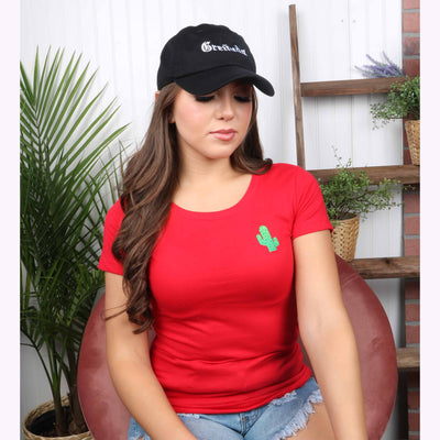 Embroidered Cactus T-Shirt , Cactus t-shirt, Scoop Neck Shirt, Crewneck, Embroidered Shirt, Red Shirt, DSY Lifestyle Shirt, Made in LA