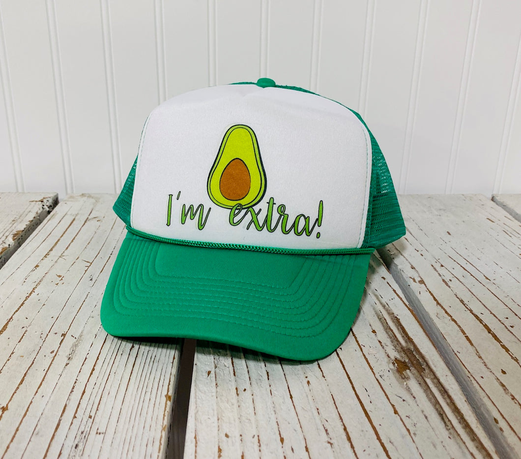 I'm Extra Foam Trucker Hat - Avocado Trucker Cap