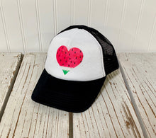 Load image into Gallery viewer, Washed Watermelon Heart Trucker Hat