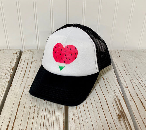 Washed Watermelon Heart Trucker Hat