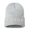 Cabrona Friends Font Cuffed Beanie, Cuffed Beanie Cap, Cabrona Embroidery, Embroidered Beanie Cap, Friends Font, Custom Embroidery, DSY Lifestyle Beanie, Heather Grey Cuffed Beanie, Made in LA