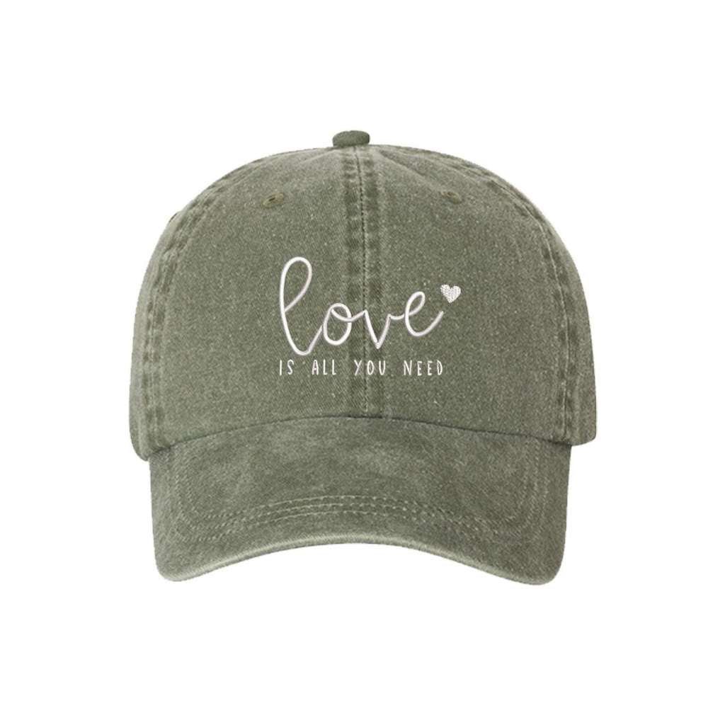 Olive washed hat with love is all you need embroidered in white- DSY Lifestyle