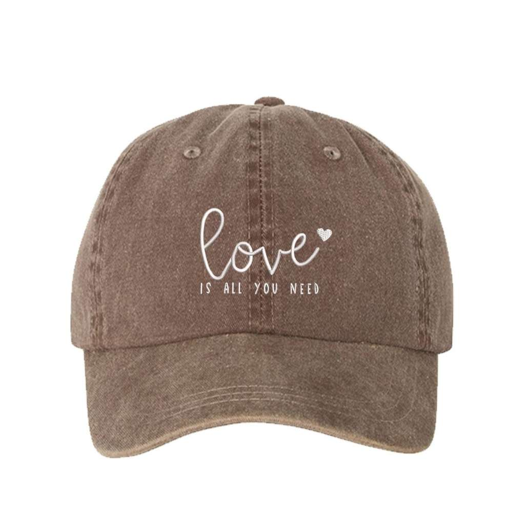 Chocolate washed hat with love is all you need embroidered in white- DSY Lifestyle